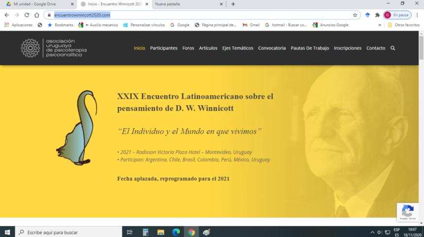 Sitio del Encuentro Winnicott 2020