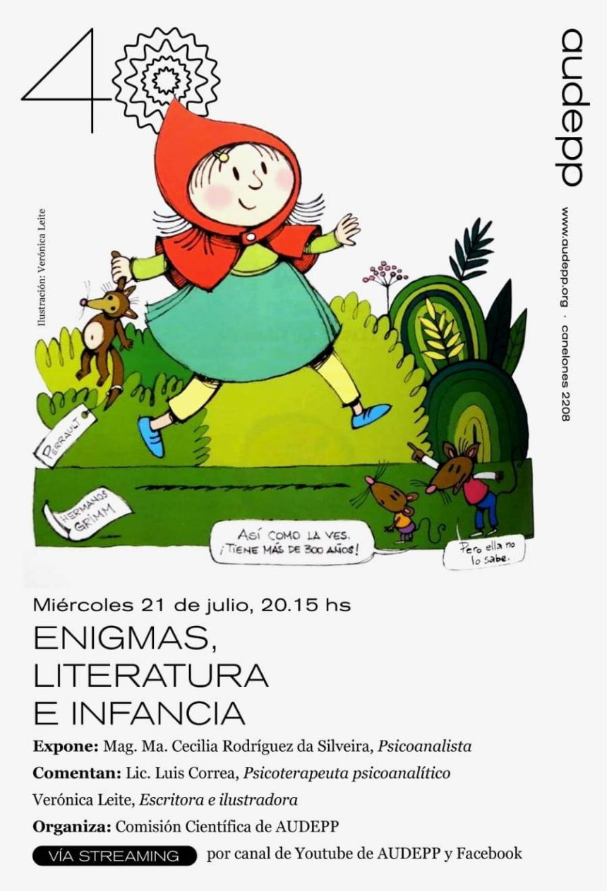 Conferencia: «Enigmas, literatura e infancia». Miércoles 21 de julio 20.15 horas (Enlace a Streaming por YouTube y Facebook )